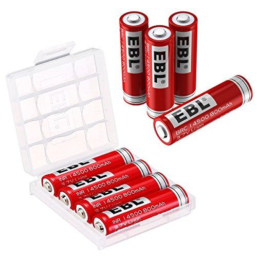 EBL 8 Packs 14500 Li-ion Rechargeable 3.7V 800mAh for LED Fl
