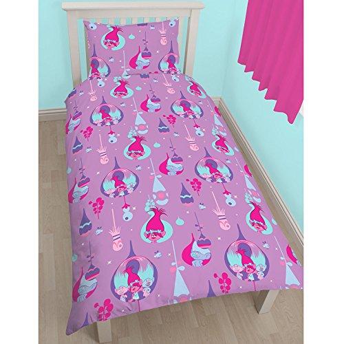Trolls Glow 2 Piece UK Single/US Twin Sheet Set – 1 x double sided sheet & 1 x pillowcase + FREE Small Foil Stickers (Fashionista Comforter Set)