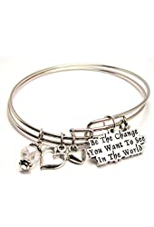 Be the Change You Want to See in the World Adjustable Bangle Bracelet Set