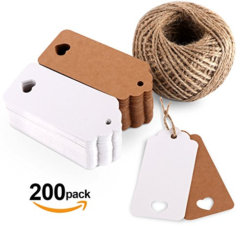 ilauke 200pcs Kraft Paper Gift Tags 9X4cm with 65 Yards Natural Jute Twine Hang Tags for Arts and Crafts Party Wedding Christmas (Love Heart Tags)
