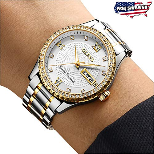 Luxury White Diamond Day Date Watches for Men Big Face Dial Gold Bezel Luminous,OLEVS Male Business Casual Simple Dress Stainless Steel Analog Quartz Calendar Wrist Watch Waterproof Gifts Silver