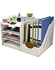 $25 » Desk Organizers and Storage,Easy Assembly 4 Tier Desktop Organizer for Desk Accessories & Office Supplies,White Office Paper File Organizers for Office, School and Home