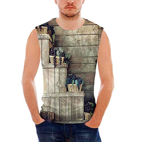Wicker Island Man (iPrint Mens Workwear Grapes Home Decor Ultra Cotton Tank,Various in Wooden Wicker Bask)