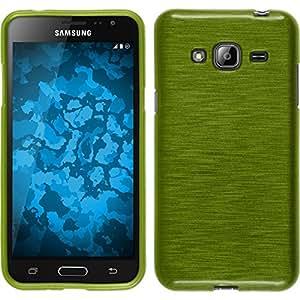 PhoneNatic Funda de Silicona para Samsung Galaxy J3 - Brushed Verde Pastel - Cover Cubierta + Protector de Pantalla