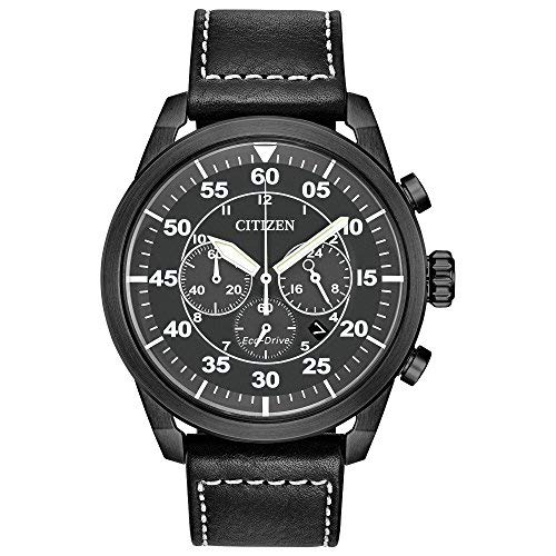 Citizen Men's 'Eco-Drive' Quartz Stainless Steel and Leather Casual Watch, Color:Black (Model: CA4215-21H)