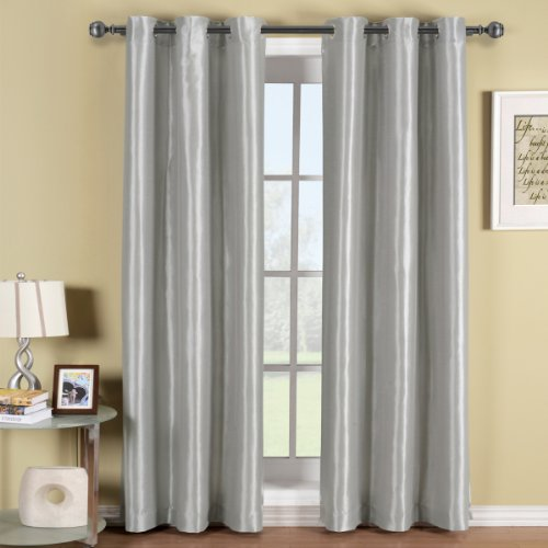 Pair of Two Silver Top Grommet Blackout Curtain Panels, Triple-Pass Foam Back Layer, Elegant and Contemporary Soho 84 Inches Blackout Panels
