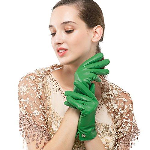 - Women's Italian Lambskin Leather Glove Winter Warm Simple Fleece Lining Gloves