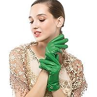 Women's Italian Lambskin Leather Glove Winter Warm Simple Fleece Lining Gloves