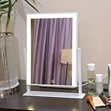Large Makeup Mirror with Big LED Lights Touch Screen Lighted Adjustable Brightness (White)