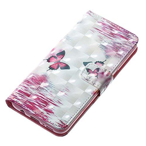S8 Hülle Leder, Galaxy S8 Schutztasche,Ledertasche für Samsung S8, Aeeque [3D Relief Hot Pink Sonnenblume Muster] Kartenfach Standfunktion PU Leder Wallet Case Cover Handy Hülle Etui Handytasche mit W Wasser Schmetterlings