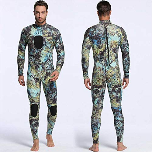 Mens Spearfishing Wetsuits Camouflage Neoprene One Piece Scuba Free Diving Suits with Chest Pad MY005 CAMO 3mm S