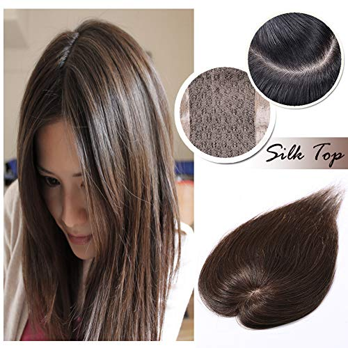 Silk Base Clip in Topper for Women Medium Brown Human Hair Crown Toupee Wiglet Hand-made Top Hairpieces Middle Part with Thinning Hair(14