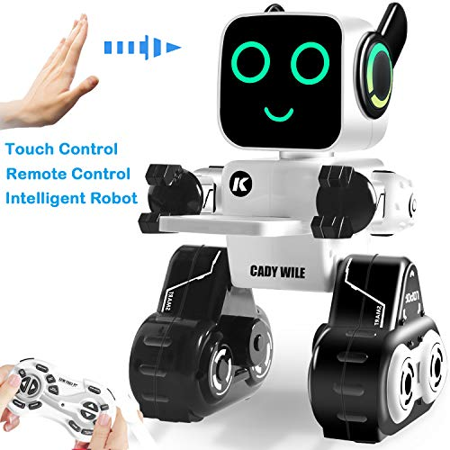 Aukfa Remote Control Robots Toys for Kids, Programmable Robot,Dancing and Singing Robots,Built-in Piggy Bank,Music,Record ,Rechargeable,Best Gift for Boys and Girls,Robots for Kids(White&Black)