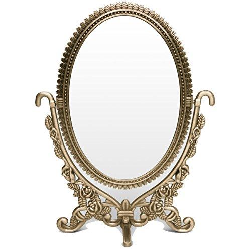 - Vanity Mirror Ellipse Two-sided Rotatable Bronze Cosmetic Makeup detailed Desktop Mirror with Embossed Roses and Rhinestones Stand Shaving/ Vanity/ Tabletop Mirror-Gift Box Packaging