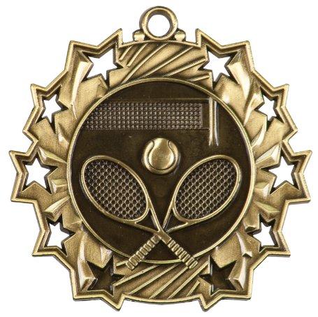 Gold Ten Star Tennis Die Cast Medal with Red, white & blue neck ribbon - 2.25 Inch Diameter (Tennis Medallion)