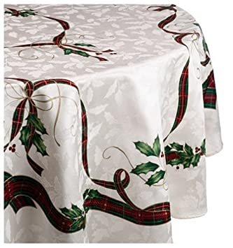 Lenox Holiday Nouveau Tablecloth, 70 Inch Round, Ivory