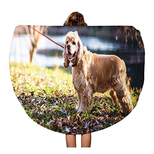 Semtomn 60 Inches Round Beach Towel Blanket Adult American Cocker Spaniel Standing Near Lake Animal Attractive Travel Circle Circular Towels Mat Tapestry Beach Throw