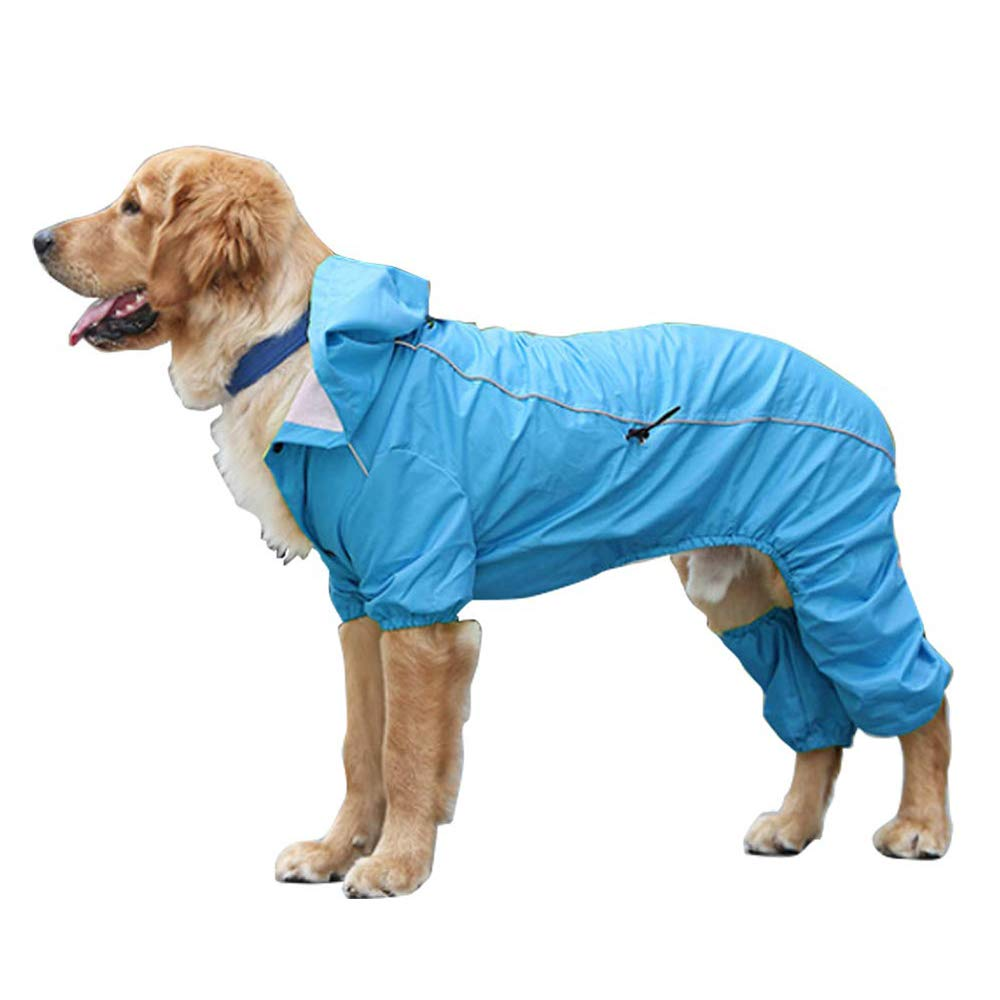 bluee Medium bluee Medium Dog Hooded Raincoat, Ultra-Light Breathable 100% Waterproof Rain Jacket, Four Legs Rain Coats with Hood Collar Hole, for Small Medium Large Pet Dogs,bluee,M