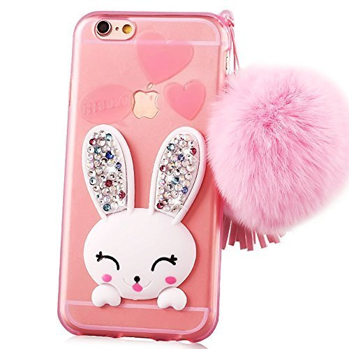 Iphone 4 cases, Sunroyal Slim Soft Transparent TPU Crystal Clear 3D Cute Cartoon Rabbit [Bling Diamond Silicon Ear] Case Cover with Hairball Pompon Wrist Strap Wristlet For iPhone 4S 4 Pink -