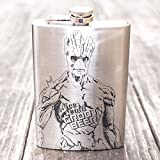 New 8oz Ice Cold Groot Beer Stainless Steel Pocket Leak Proof HIP Flask for Liquor Portable for Travel and Camping