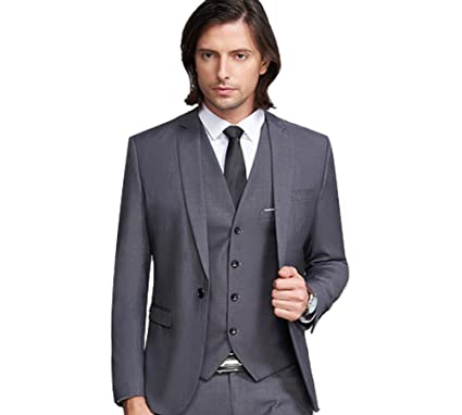 Men\'s Grey 3 Pieces Mens Suits Peak Lapel Summer Wedding Suits for ...