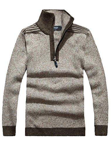 Minibee Men's Turtleneck Sweater Pullovers with Zipper