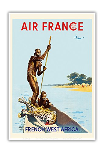 Pacifica Island Art French West Africa - France - Vintage Airline Travel Poster by Albert Brenet c.1949 - Master Art Print - 13in x 19in