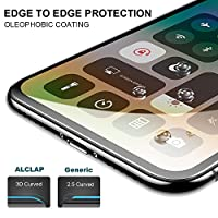 ALCLAP iPhone X Screen Protector, Tempered Glass 3D Full Coverage Film HD Clear Cover Bubble Free Screen Protector [Anti-Scratch] [Lifetime Replacement] for Apple iPhone X / 10 (Black) by ALCLAP