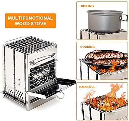 Aluminum Alloy Folding Wood Stove Cooking Camping BBQ Cookware Survival Tool
