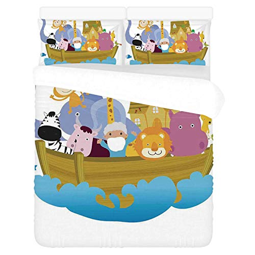Religious Comfortable 3 Piece Bedding Set,Religious Story The Ark with Set of Animals in The Boat Journey Faith Cartoon for Home,Duvet Cover:86