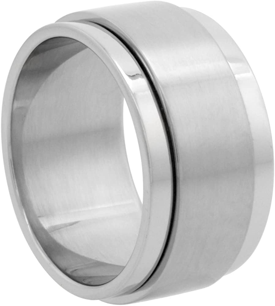 Surgical Stainless Steel 10mm Spinner Ring Wedding Band Matte Center, Sizes 7-14