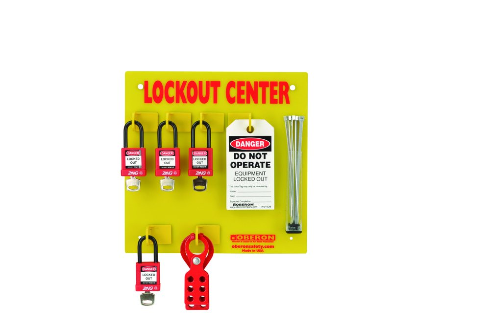 Oberon LOTO-CENTER-4L Wall Mounted Electrical Center, 4 Lock, Yellow (21 Piece) (Pack of 21)
