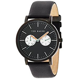Ted Baker Men's TE1096 Smart Casual Round Black Multi-Function Orange Hands Watch