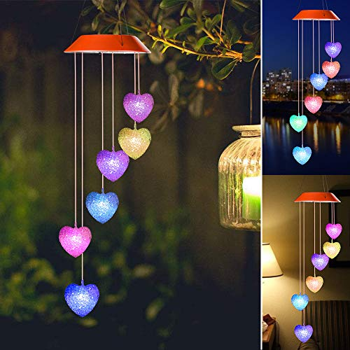 gifts for mom,wind chimes outdoor,Wind Chime,hummingbird wind chime,solar wind chimes,plastic hangers,mom gifts,birthday gifts for mom,grandma gifts,gardening gifts,Heart outdoor solar lights