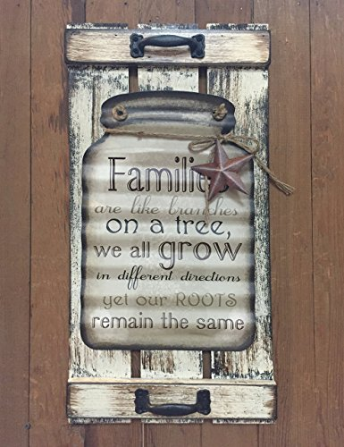 Avon Owl (Mason Canning Jar Shutter FAMILIES are like branches on a tree we all grow roots remain the same SIGN Distressed Wood Rustic Country Kitchen Decor Family)