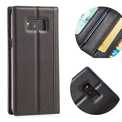 Samsung Galaxy S8 Leahter Case by Purfit Design,Genuine Full Grian Leather Flip Folio Opening Protective Wallet Case Cover [Handmade] [ Vintage Style ] [ Built in Stand ]