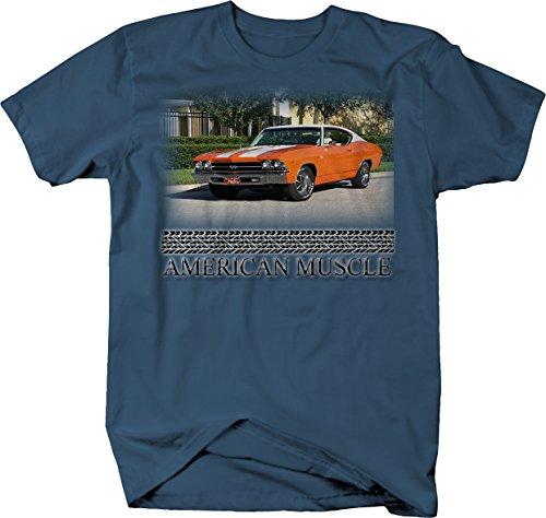 American Muscle Orange Chevy Chevelle SS V8 Hotrod Tshirt - XLarge