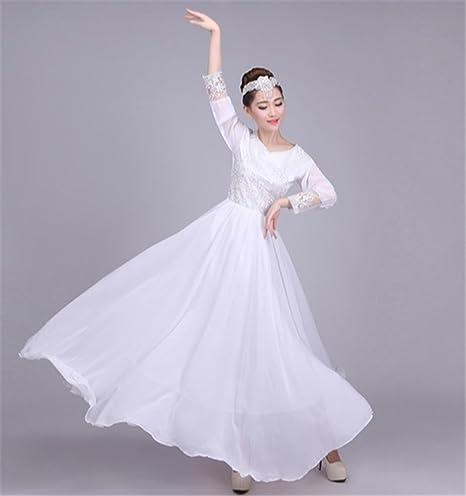 peiwen Falda Larga Larga Blanca de la Danza clásica de la Mujer ...