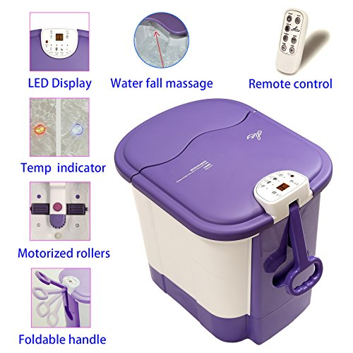LLETT All in one deep Foot & Leg spa Bath Massager w/Motorized Rolling Massage, Heat, Wave, O2 Bubbles, Water Fall, Digital Temperature Control LED Display LL-9013