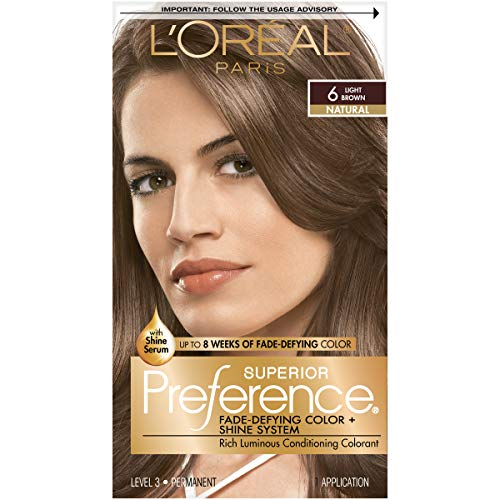 L'Oréal Paris Superior Preference Fade-Defying + Shine Permanent Hair Color, 6 Light Brown, 1 kit Hair Dye]()