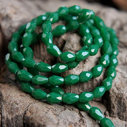 Faceted Briolette Drop Beads for Jewelry Making and Beading, Emerald Green Color, 100 Pieces per - Brooch Oval Emerald