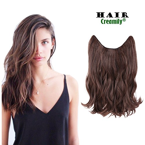 "Creamily 14"" Wavy Curly Synthetic Hair Extension Secret Miracle Heat Resistance Hair Wire Hairpieces No Clip for Women (2/30)"