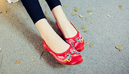 AvaCostume Womens Chinese Traditional Phoenix Embroidered Bridal Flats Red 6niQVJCTJ