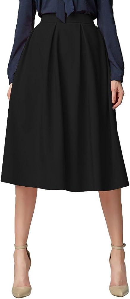 Urban GoCo Mujeres Vintage Falda Midi Plisada A-Line con Bolsillos Faldas Larga