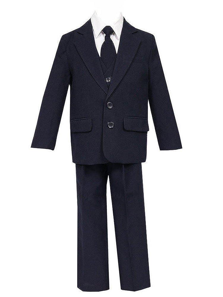 Calla Collection USA Little Boys Navy 5 Pcs Shirt Vest Jacket Tie Pants Suit 1-7