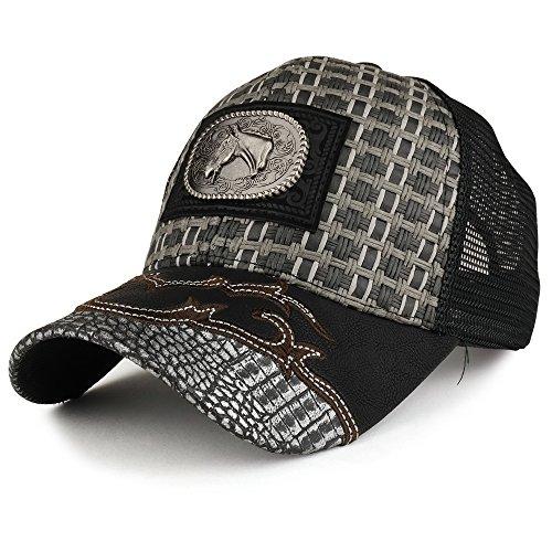 Trendy Apparel Shop Straw Design Metallic Horse Logo Badge Trucker Mesh Adjustable Baseball Cap