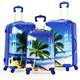 Olympia Luggage Palm Beach 3 Piece Polycarbonate Hardcase Set, Blue, One Size, Bags Central