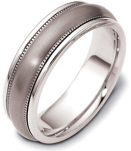 Ring Titanium Dora (Wedding 7mm Titanium and Platinum Band Ring - 12.25)
