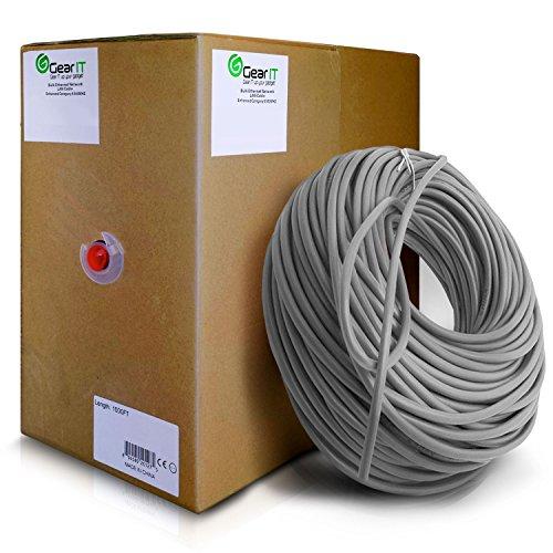 GearIT 1000 Feet Bulk Cat5e Plenum Jacket (CMP) Ethernet Cable - Cat 5e 350Mhz 24AWG Full Copper Wire Pull Box, Gray