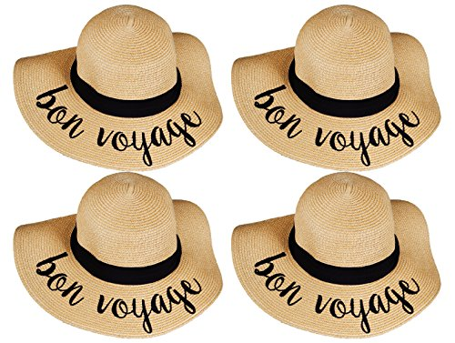 H-2017-BUNDLE-BVx4 Embroidered Sun Hat 4 Pack - Bon Voyage